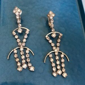 Vintage clip on dangle rhinestone earrings